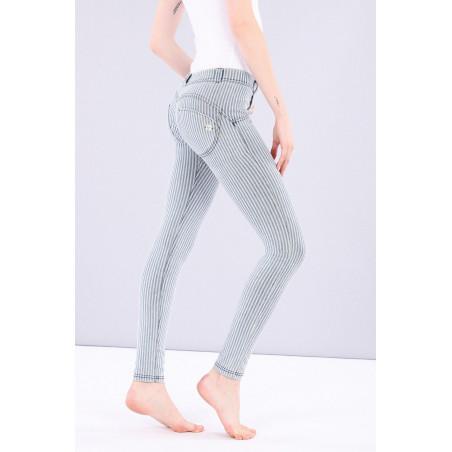 WR.UP® Denim Effect Jeggings - Regular Waist Skinny - Made In Italy - J0B - Blå/Vit