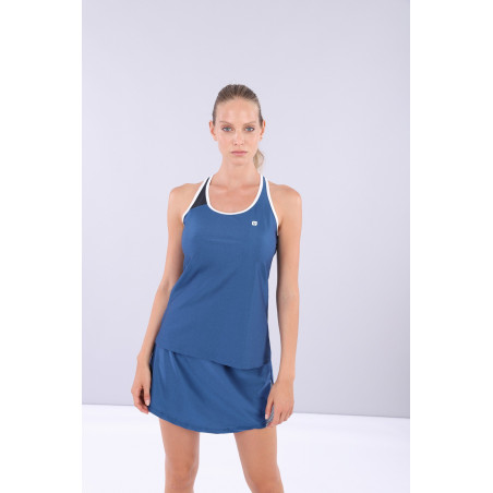Criss-Cross Yoga Tank Top - Made in Italy - B107BW - Blå