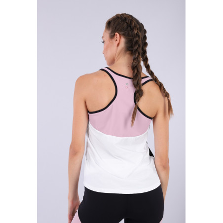 Racer Back Yoga Tank Top - Made in Italy - WNP - Ljusrosa/Vit