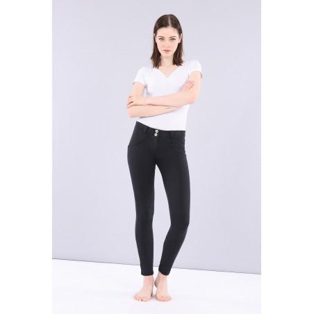 WR.UP® Denim Effect Jeggings - Regular Waist Skinny - Made In Italy - J7N - Svart Denim - Svarta Sömmar