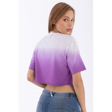 Oversize Cropped T-Shirt - Freddy Miami print - WE53 - Violett