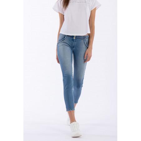 WR.UP® Denim Effect - Regular Waist Skinny - Detailed Pockets - 7/8 Length - J4B - Ljusblå Denim - Blå Sömmar