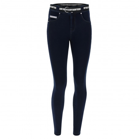 N.O.W.® Pants - Mid Waist Skinny - J0B - Mörkblå Denim - Blå Sömmar
