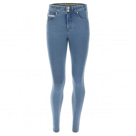 N.O.W.® Pants - Mid Waist Skinny - J4Y - Ljusblå Denim - Gula Sömmar