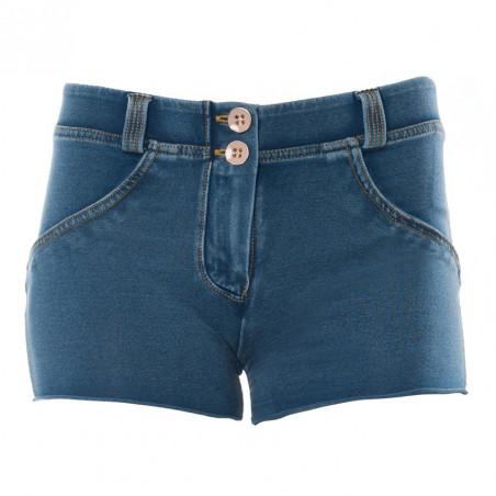 WR.UP® Denim Effect - Regular Waist Shorts - J4Y - Ljusblå Denim - Gula Sömmar