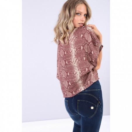 Boxy Snake Print Shirt With Short Kimono Sleeves - ANI6N - Pyton