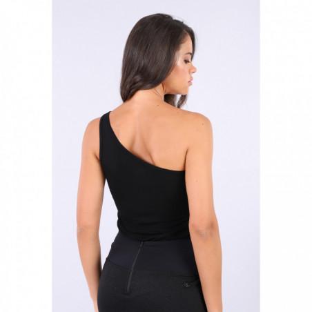 Slim Fit Single-Shoulder Top - N - Svart