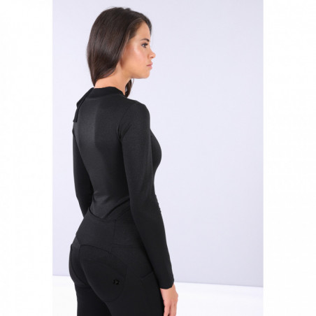 Curve Hugging Long-Sleeve Bodysuit With a Bow - NL - Svart Lurex