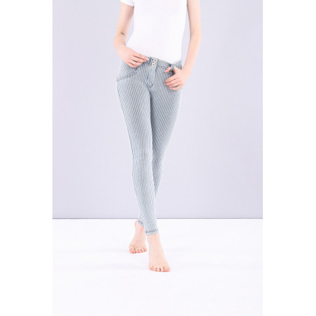 WR.UP® Denim Effect Jeggings - Regular Waist Skinny - Made In Italy - J0B - Blå/Vit