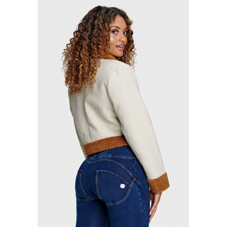 Cropped Faux Shearling and Eco-Napa Jacket - Z100M - Beige/Brun