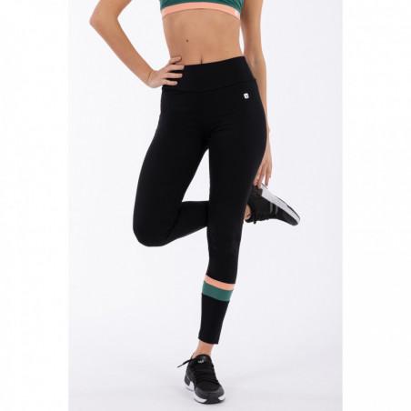 Bio D.I.W.O® Yoga Leggings - Made In Italy - NVP - Svart/Mörkgrön/Persika