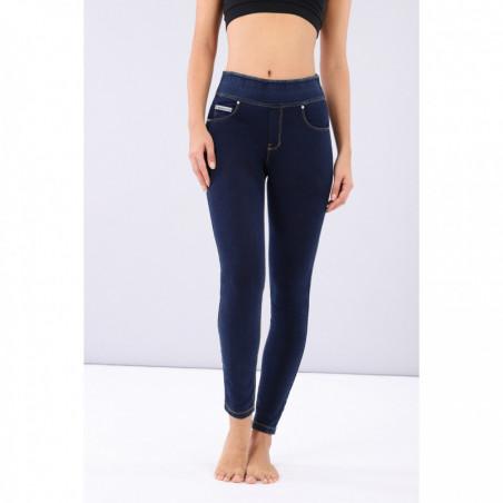 N.O.W® Pants - Mid Waist Skinny - Foldable Waist - J0Y - Mörkblå Denim - Gula Sömmar