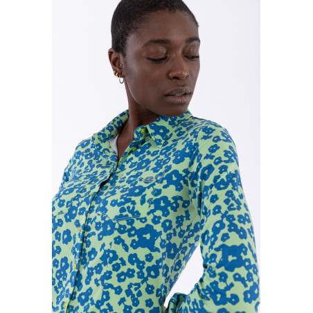70s'-Style Floral Print Shirt - FLO9 - Blommig