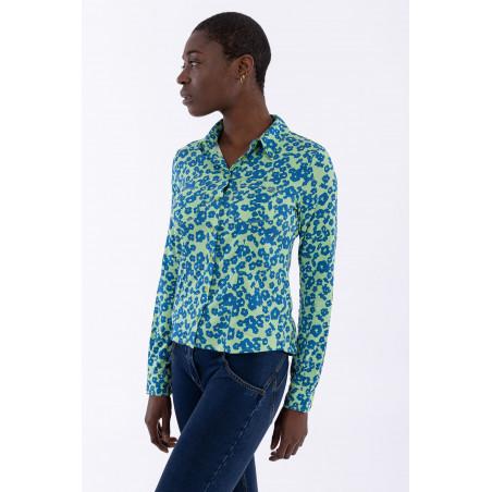 70s'-Style Floral Print Shirt - FLO9 - Blommig