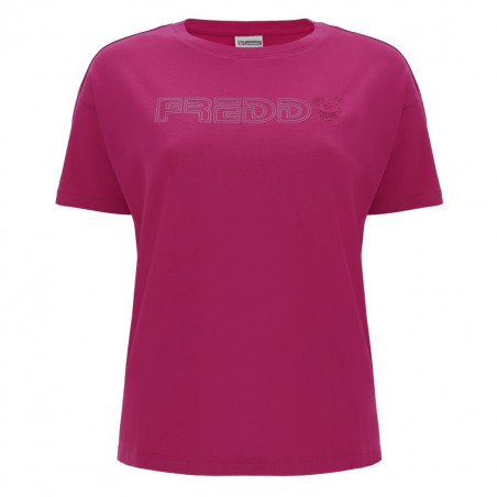 T-Shirt With Printed Logo - F58 - Sangria Röd