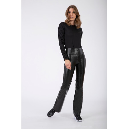 WR.UP® Ecoleather - High Waist Flare - Pressed - N - Svart