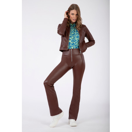 WR.UP® Ecoleather - High Waist Flare - 70S-Style Mille Rayé - M33 - Brun