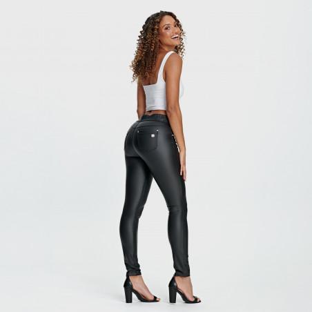N.O.W.® Pants - Mid Waist Skinny Ecoleather - N0 - Svart