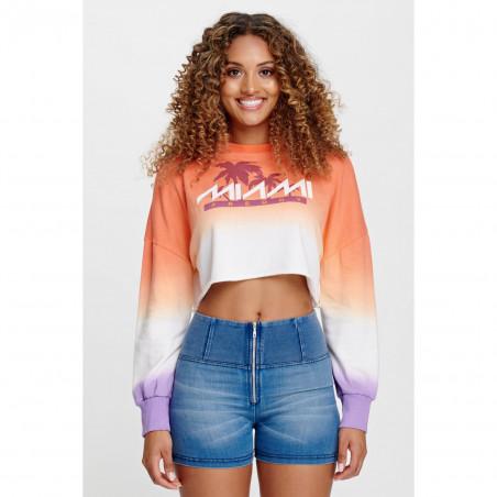 Oversize Cropped Sweatshirt - Freddy Miami Print - A77E - Orange