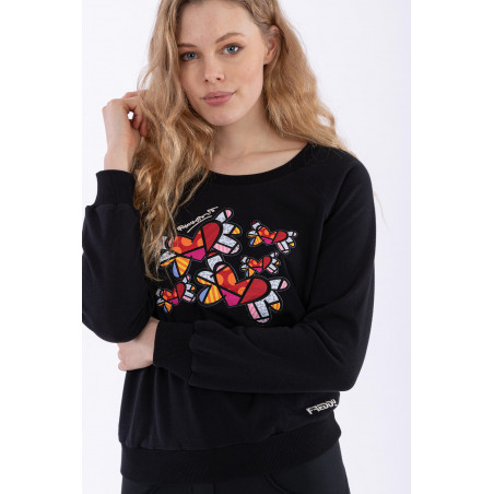 Crew Neck Sweatshirt With Winged Heart Patches - Romero Britto Collection
