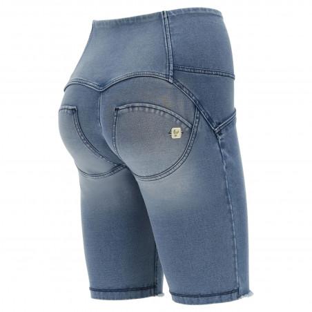 WR.UP® Denim Effect - High Waist Biker Shorts - Frayed Hem - J4B - Clear Denim - Blue Seam