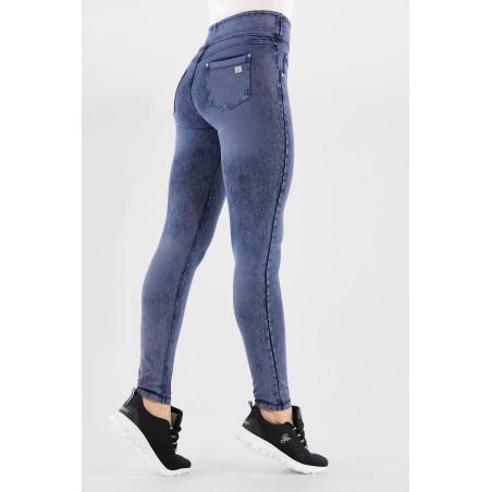 N.O.W® Pants - Mid Waist Skinny - Foldable Waist - J53B - Washed Blue Denim