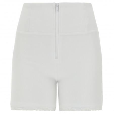 WR.UP® Denim Effect - High Waist Shorts - Frayed Hemline - W - White
