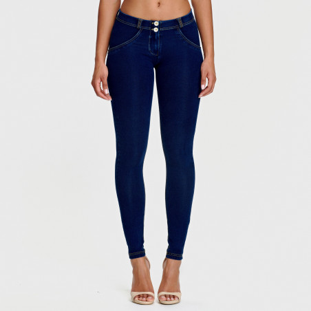 WR.UP® Denim Effect - Regular Waist Super Skinny - J0Y - Mörkblå Denim - Gula Sömmar