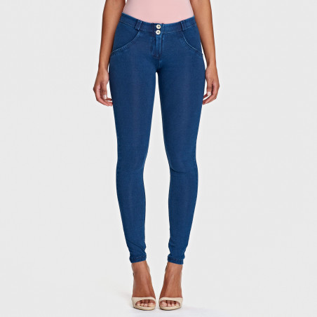 WR.UP® Denim Effect - Regular Waist Super Skinny - J0B - Mörkblå Denim - Blå Sömmar