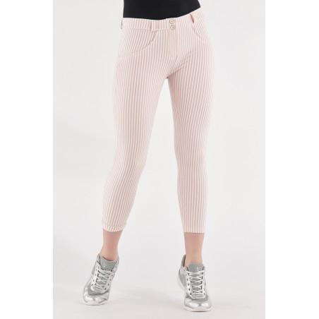 WR.UP® Regular Waist Super Skinny - 7/8 Lenght - Striped Stretch Jersey - D50W - Rose Cloud & White Stripes