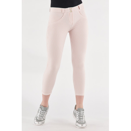 WR.UP® Regular Waist Super Skinny - 7/8 Lenght - Striped Stretch Jersey - P34W - Rose Cloud & White Stripes