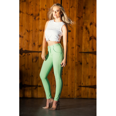 WR.UP® Regular Waist Skinny - Pastel Colored Stretch Jersey - D50 - Green Ash