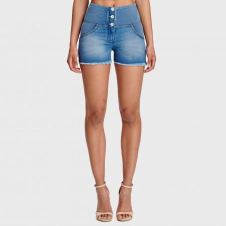 WR.UP® Denim Effect - High Waist Shorts - Frayed Hem - J4Y - Clear Denim - Yellow Seam