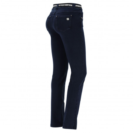 N.O.W® Pants - Mid Waist Straight - J0B - Dark Denim - Blue Seam