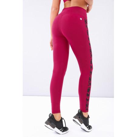 Superfit Cotton Leggings - High Waist With Camo Details - 7/8 Length - F58 - Sangria Röd
