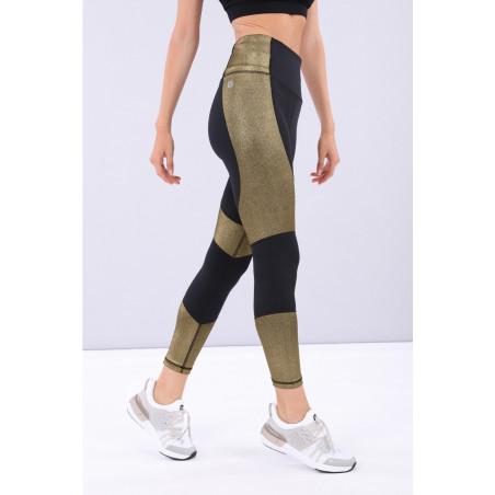 Superfit Leggings - High Waist in D.I.W.O.® - 7/8 Length - NNB2 - Svart/Guld