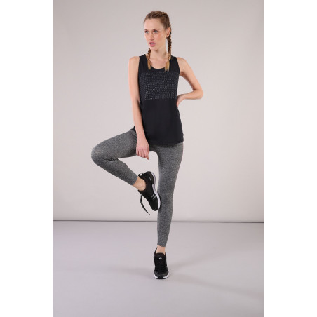 Superfit Leggings in D.I.W.O.® - 7/8 Length - N26QF - Gråmelerad/Fuchsia