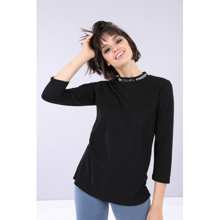 Long-Sleeved Shirt - N0 - Glittrande Svart