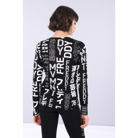 Long-Sleeved Shirt With Print - NW - Svart/Vit
