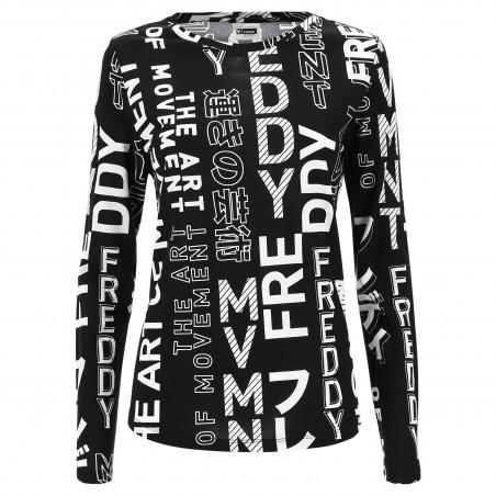 Long-Sleeved Shirt With Print - NW - Svart/Vit