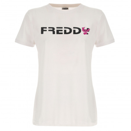 Cotton T-Shirt With Printed Text - W0 - Vit