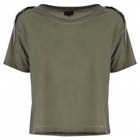 Decorated T-Shirt - V57D - Vetiver Grön
